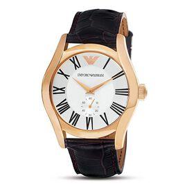EMPORIO ARMANI Chronograph Watch with Genuine Leather Strap