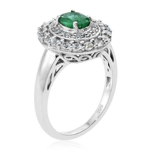 Cocktail Collection- Premium Santa Terezinha Emerald (Ovl), Natural Cambodian Zircon Ring in Platinum Overlay Sterling Silver 1.750 Ct.