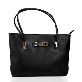 New Season - Classic Bow Black City Tote Handbag  (29 x 23 x 9 Cms