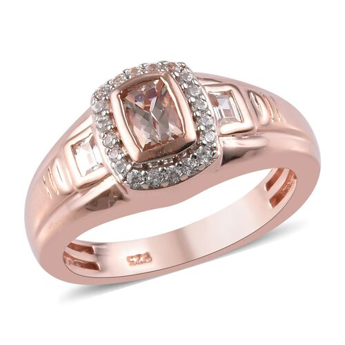 1.02 Ct Marropino Morganite and Zircon Halo Ring in Rose Gold Plated Sterling Silver