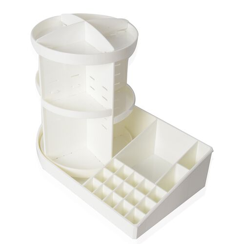 White Colour 360 Degree Rotating Makeup Organizer (Size 38x30 Cm)