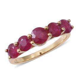 ILIANA 2.85 Ct AAAAA Burmese Ruby and Diamond 5 Stone Ring in 18K Gold 3.13 Grams SI GH