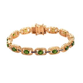 Russian Diopside Enamelled Bracelet (Size 7.5) in 14K Gold Overlay Sterling Silver 6.25 Ct, Silver w
