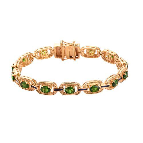 Russian Diopside Enamelled Bracelet (Size 7.5) in 14K Gold Overlay Sterling Silver 6.25 Ct, Silver w