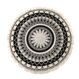 100% Cotton Mandala Round Cotton Rug with Laces or Fringes (Size 90X90 Cm) - Beige & Black
