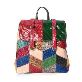Designer Inspired -100% Genuine Leather Multicolour Block Pattern Backpack with External Zipper Pock