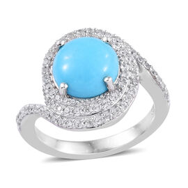 2.75 Ct Sleeping Beauty Turquoise and Cambodian Zircon Halo Ring in Platinum Plated Sterling Silver