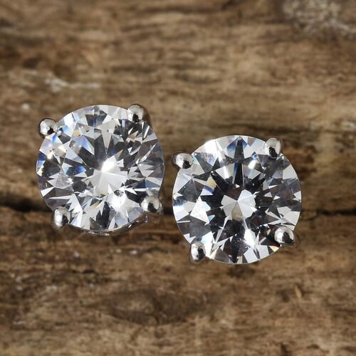 J Francis Platinum Overlay Sterling Silver (Rnd 7.5 mm) Stud Earrings (with Push Back) Made with SWAROVSKI ZIRCONIA