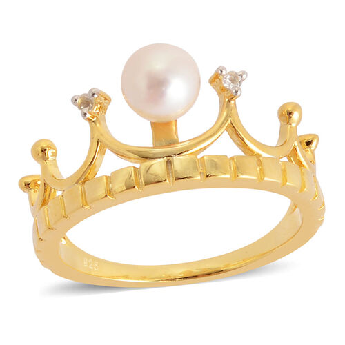 Japanese Akoya Pearl (Rnd 5-6 mm), White Topaz Crown Ring in Yellow Gold Overlay Sterling Silver