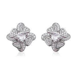 Simulated Diamond Floral Stud Earrings in Rhodium Plated Sterling Silver