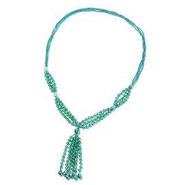 Simulated Emerald and Simulated Apatite Beads Tassel Necklace Size 30 Inch
