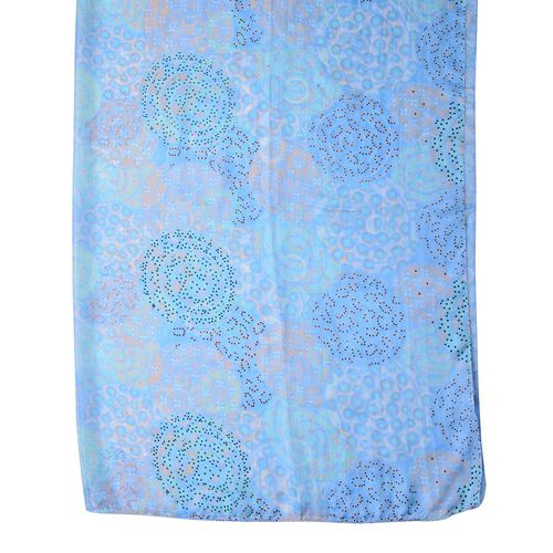 100% Mulberry Silk Blue, Black and Multi Colour Circular Pattern Scarf (Size 180X110 Cm)