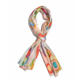 100% Modal Multi Colour Circle Pattern Digital Printed Scarf Size 200x70 Cm