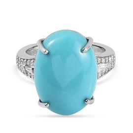 RHAPSODY 950 Platinum AAAA Arizona Sleeping Beauty Turquoise and Diamond (VS/E-F) Ring 8.21 Ct, Plat