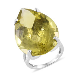 39 Carat Natural Green Gold Quartz Solitaire Ring in Platinum Plated Silver 5.70 Grams