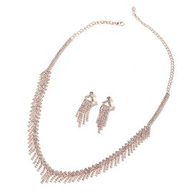 2 Piece Set - White Austrian Crystal (Rnd) Necklace (Size 22) and Tassel Earrings (with Push Back) in Rose Gold Tone