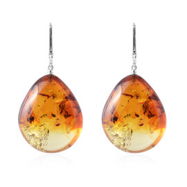 Baltic Amber Drop Lever Back Earrings in Sterling Silver
