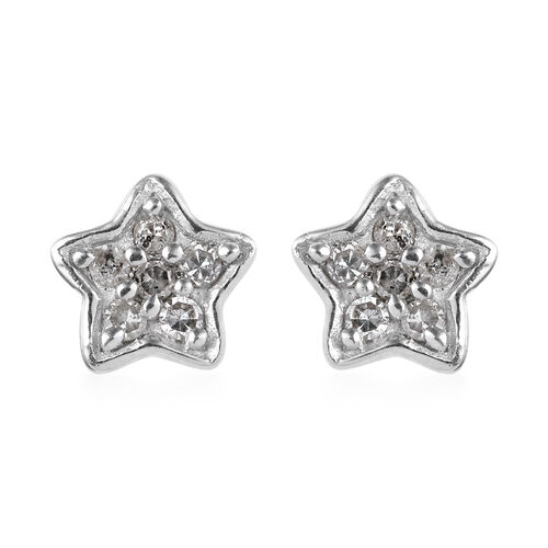 Diamond (Rnd) Star Stud Earrings (with Push Back) in Platinum Overlay Sterling Silver 0.15 Ct.