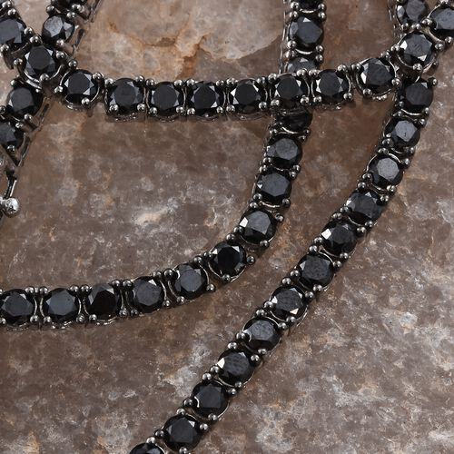 Black Diamond (Rnd 3.30 MM) Necklace (Size 18) in Platinum Overlay Sterling Silver 20.750 Ct. Silver wt. 21.50 Gms. No Of Black Diamonds 123 Pcs