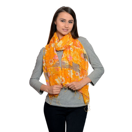 65% Silk Yellow, Light Purple and Multi Colour Artistic Floral Pattern Scarf with Fringes (Size 180x