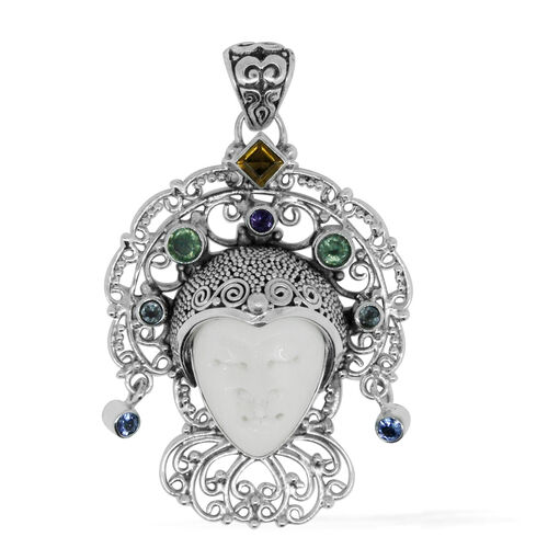 Princess Bali Collection OX Bone Carved Face (Ovl), Orissa Green Kyanite, Citrine, Blue Topaz, Tanzanite and Amethyst Pendant in Sterling Silver 6.565 Ct. Silver wt. 10.00 Gms.