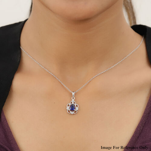 Tanzanian Blue Spinel and Natural Cambodian Zircon Pendant in Platinum Overlay Sterling Silver 1.23 Ct.