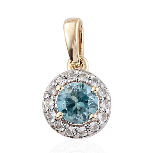 9K Yellow Gold Simulated Blue Topaz (Rnd), Natural Cambodian Zircon Pendant