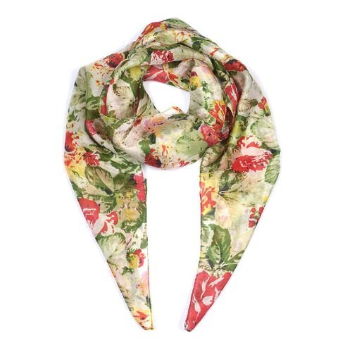 100% Mulberry Silk Floral Pattern Scarf (Size 100x100 Cm) - Multicolour