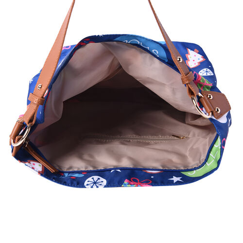 Snowman Print Tote Bag (34x14x37cm) - Teal