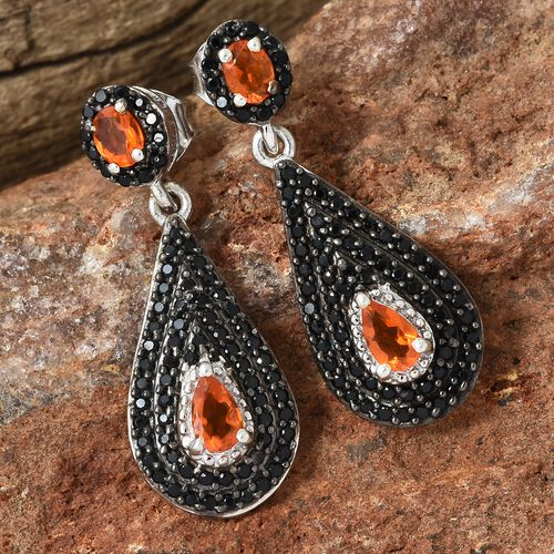 Jalisco Fire Opal (Pear), Boi Ploi Black Spinel Earrings (with Push Back) in Platinum and Black Overlay Sterling Silver 1.750 Ct, Silver wt 5.03 Gms, Number of Gemstone 150.