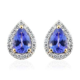 ILIANA 18K Yellow Gold AAA Tanzanite (Pear), Diamond (SI/G-H) Tear Drop Stud Earrings (with Screw Back)