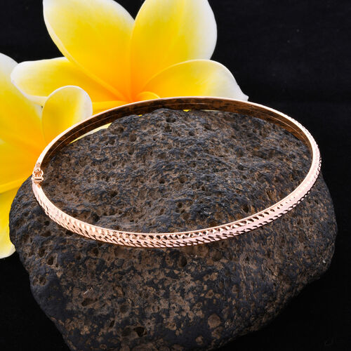 Close Out Deal-9K Rose Gold Diamond Cut Bangle (Size 7.5), Gold wt 3.60 Gms
