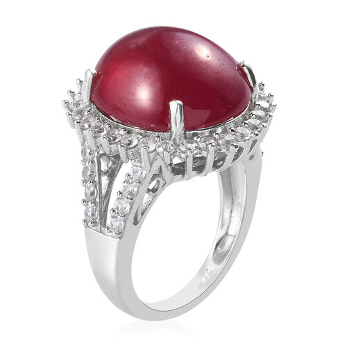 AA African Ruby and Natural Cambodian Zircon Ring in Platinum Overlay Sterling Silver 18.00 Ct, Silver wt 5.13 Gms