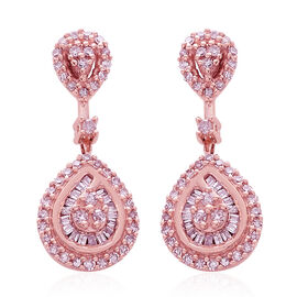 Designer Inspired 9K Rose Gold Natural Pink Diamond (Rnd) Tear Drop Earrings (with Push Back) 0.500 Ct. Number of Diamonds 132