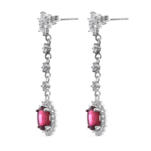 African Ruby (Ovl 3.40 Ct),Natural White Cambodian Zircon Earrings (with Push Back) in Rhodium Overlay Sterling Silver 6.000 Ct.
