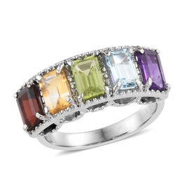 Multi Gemstone (Oct) Five Stone Ring in Stainless Steel 3.250 Ct.