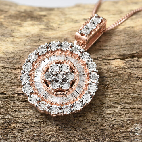 Diamond Sterling Silver Pendant With Chain  0.330  Ct.