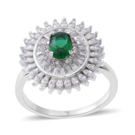 ELANZA Simulated Emerald (Ovl), Simulated White Diamond Ring in Rhodium Plated Sterling Silver