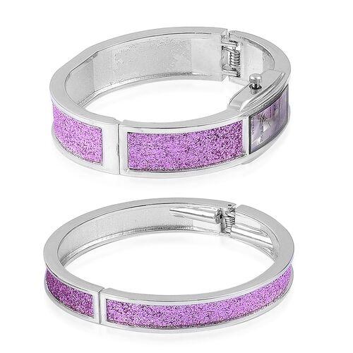 STRADA Japanese Movement Purple Stardust Watch and Bangle (Size 7.5) Set