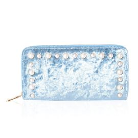 Aquamarine Colour Wallet with Simulated Pearl Studded and RFID Blocking (Size 19x10x2.5 Cm)
