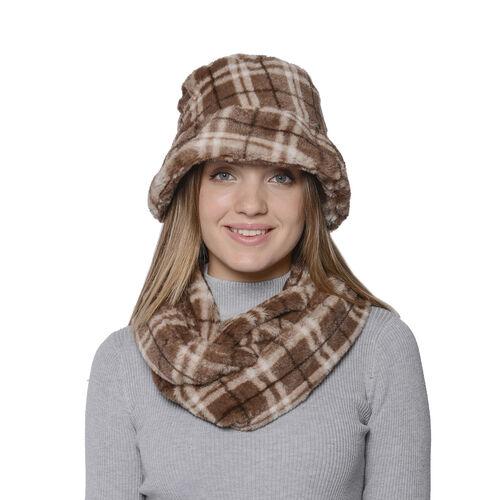 2 Piece Set - Plaid Pattern Faux Fur Hat (70x20cm) and Scarf (16x160cm) - Dark Brown