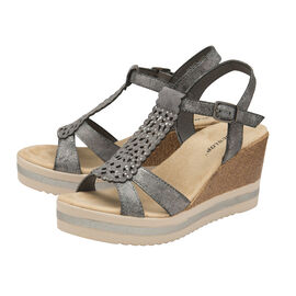 Dunlop Kassie T Bar Wedge Heeled Sandals (Size 7) - Pewter