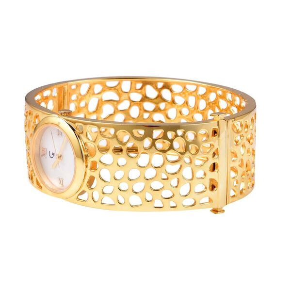 RACHEL GALLEY Swiss Movement Lattice Bangle Yellow Gold Overlay Sterling Silver Watch (Size 7.75), Silver wt 45.00 Gms
