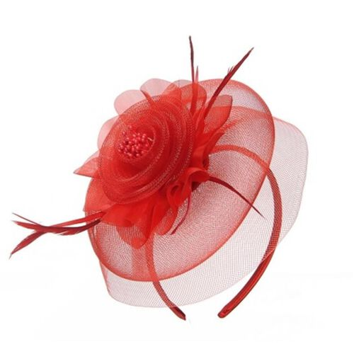 Red Mesh Flower Fascinator
