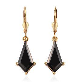 Elite Shungite Lever Back Earrings in 14K Gold Overlay Sterling Silver 3.50 Ct.