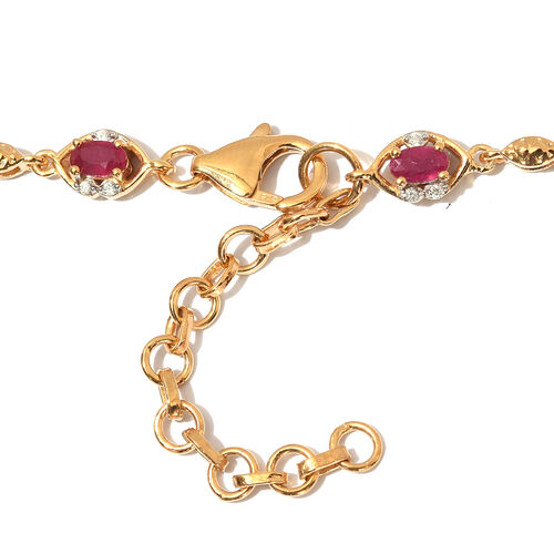 African Ruby and Natural Cambodian Zircon Necklace (Size 18 with 2 inch Extender) in 14K Gold Overlay Sterling Silver 13.00 Ct, Silver wt. 20.00 Ct.