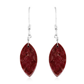 Thulite (Mrq) Hook Earrings in Sterling Silver 18.25 Ct.