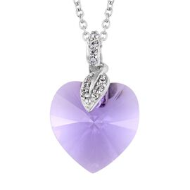 Swarovski Violet Crystal (13.60 Ct),Crystal from Swarovski - White Colour Crystal Platinum Overlay S