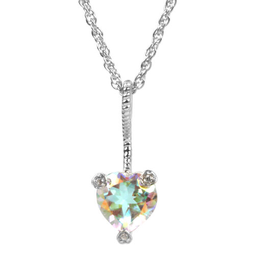 Mercury Glow (Hrt), Natural Cambodian Zircon Heart Pendant with Chain in Platinum Overlay Sterling Silver 0.528 Ct.