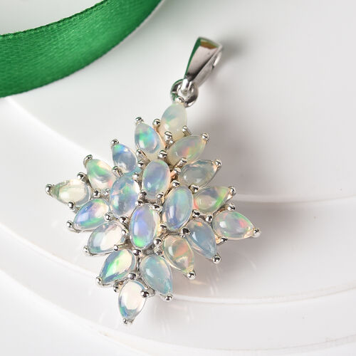 Ethiopian Welo Opal Cluster Pendant in Platinum Overlay Sterling Silver 3.00 Ct.